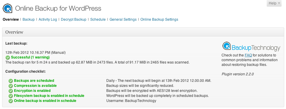 3. Online Backup for WordPress
