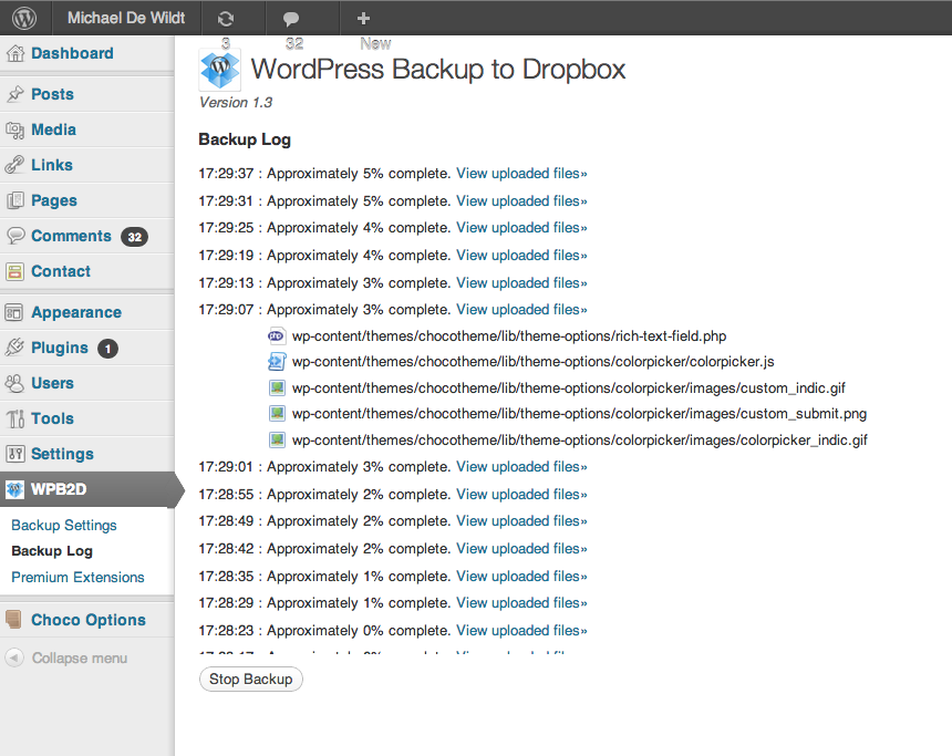 5. WordPress Backup to Dropbox