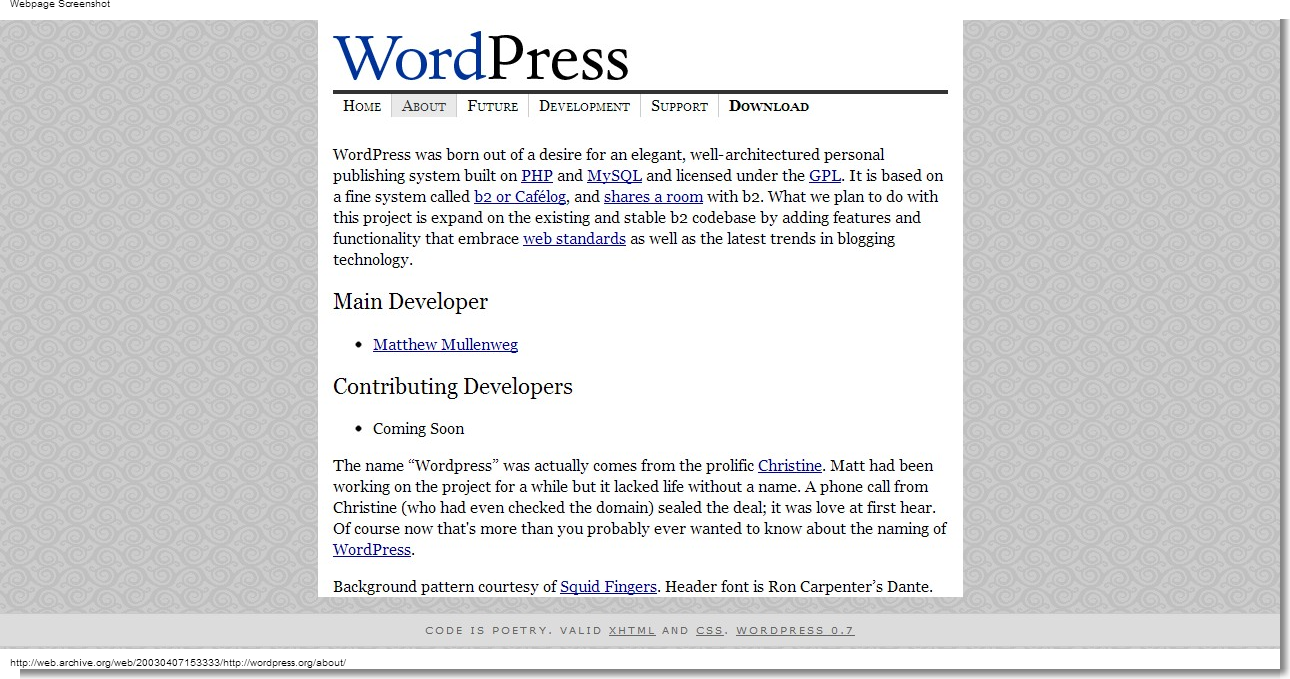 April 07, 2003 - WordPress - About