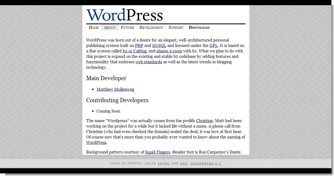 April 07, 2003 - WordPress - About