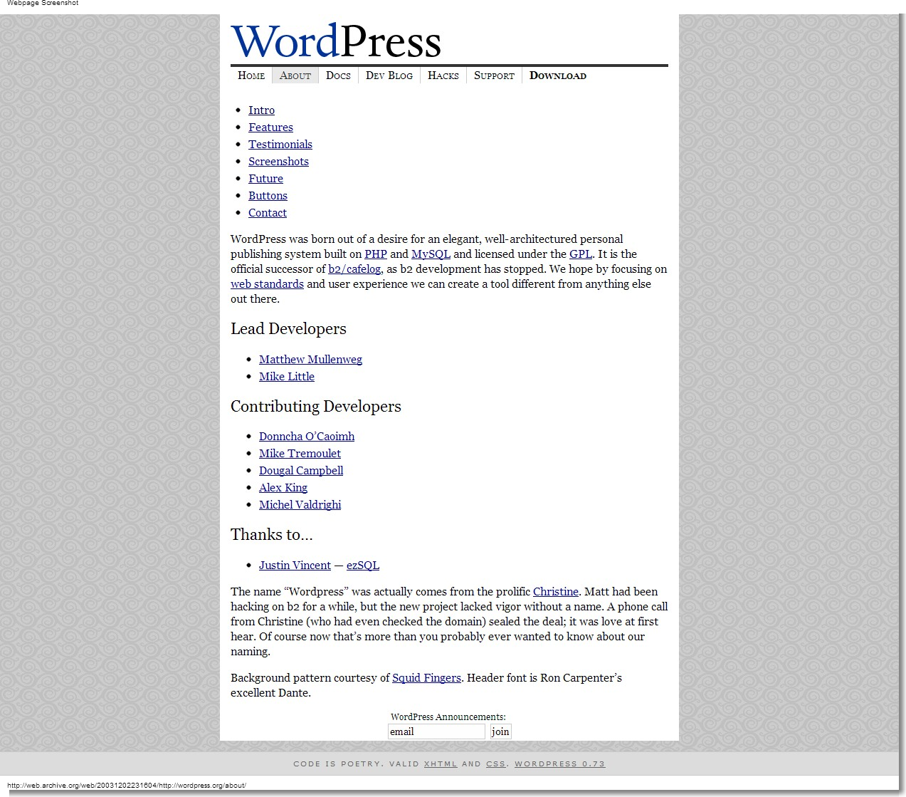 December 02, 2003 - WordPress - About