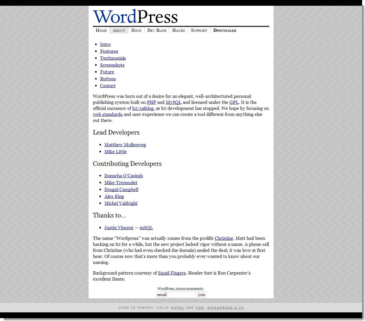 December 02, 2003 - WordPress - About