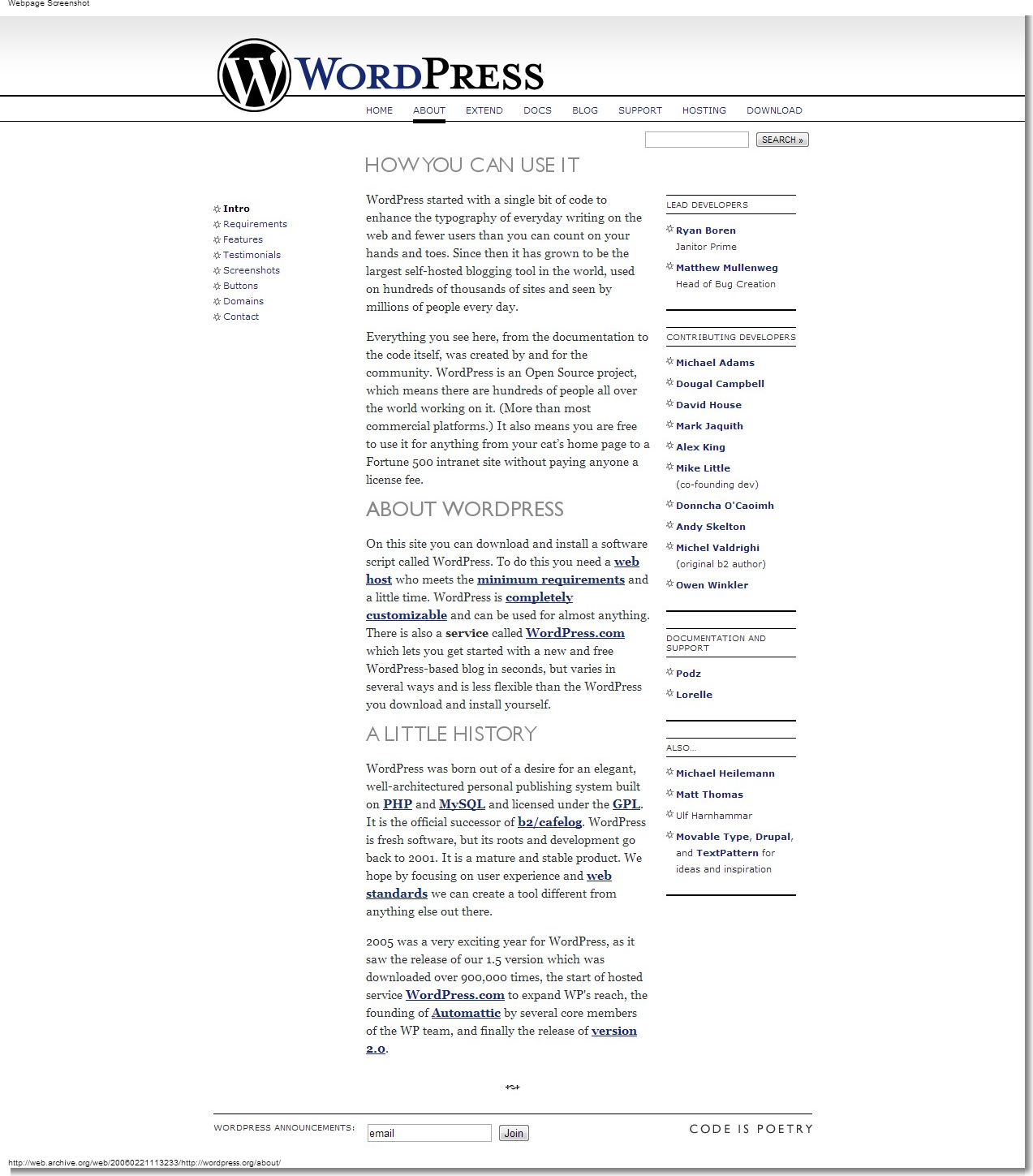 February 21, 2006 - WordPress - About