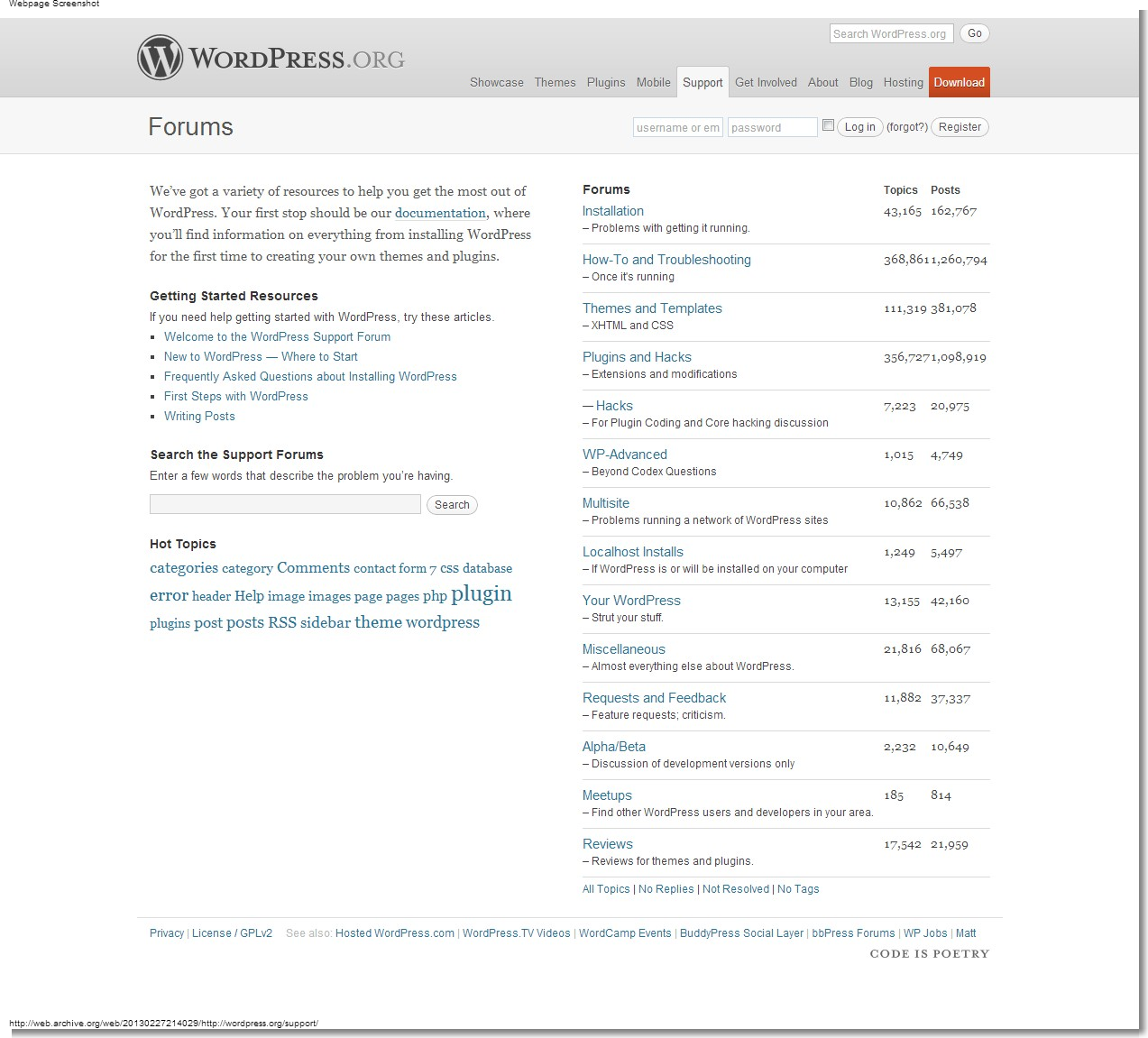 February 27, 2013 - WordPress - Support
