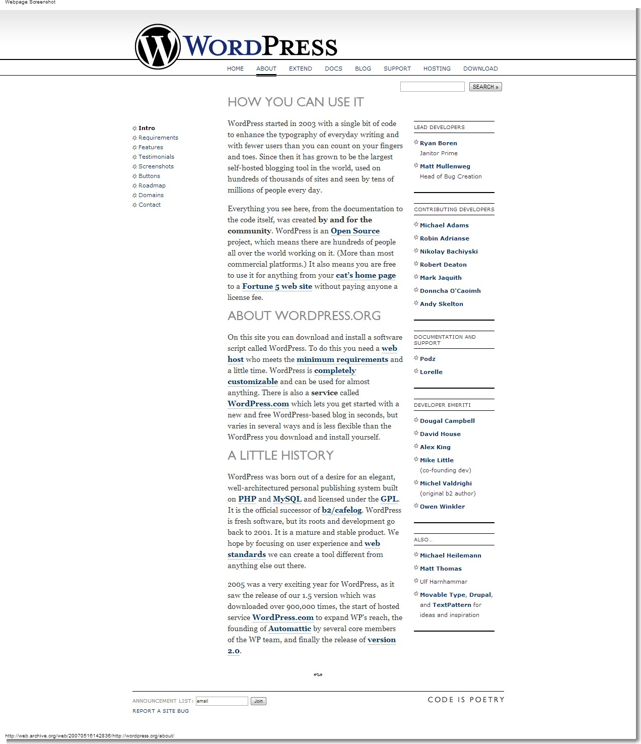 May 16, 2007 - WordPress - About