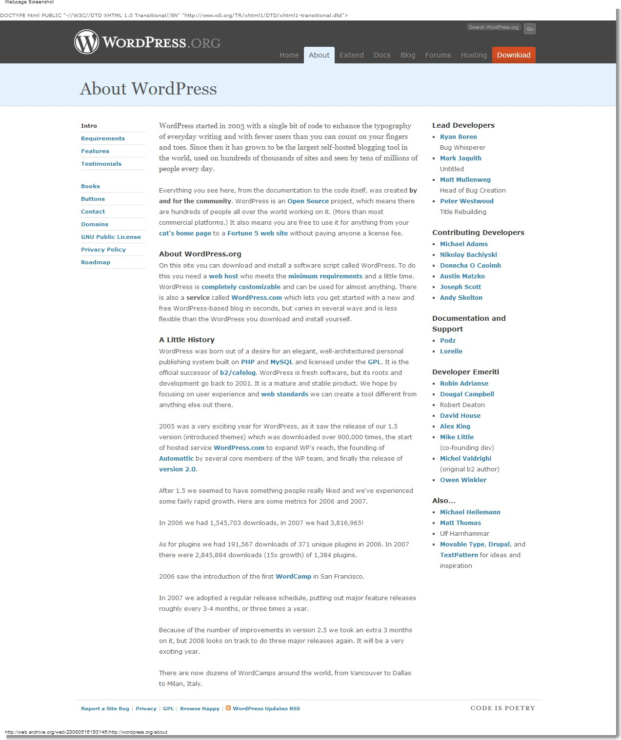 May 16, 2008 - WordPress - About