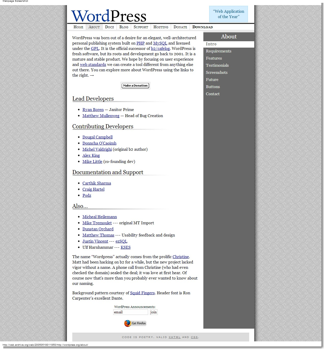 May 18, 2005 - WordPress - About