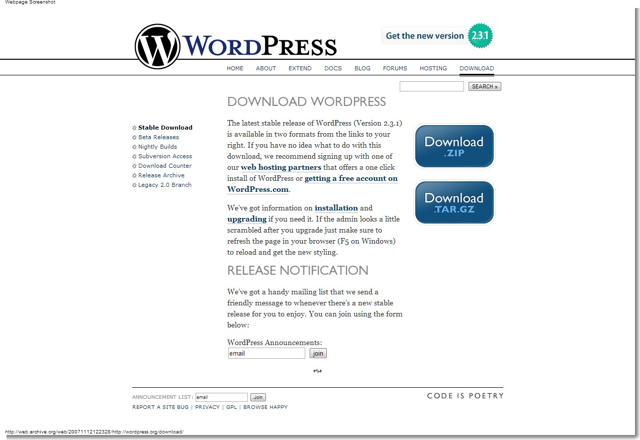 November 12, 2007 WordPress - Download