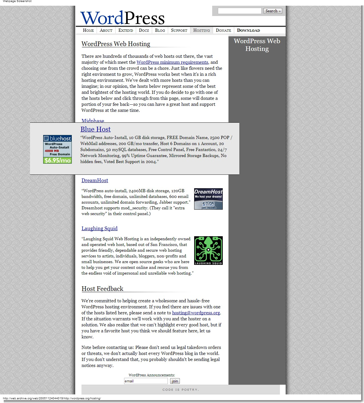 November 24, 2005 - WordPress - WordPress Web Hosting