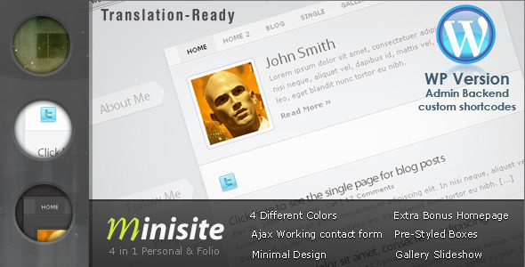 MiniSite - 4 in 1 Minimal WordPress Theme