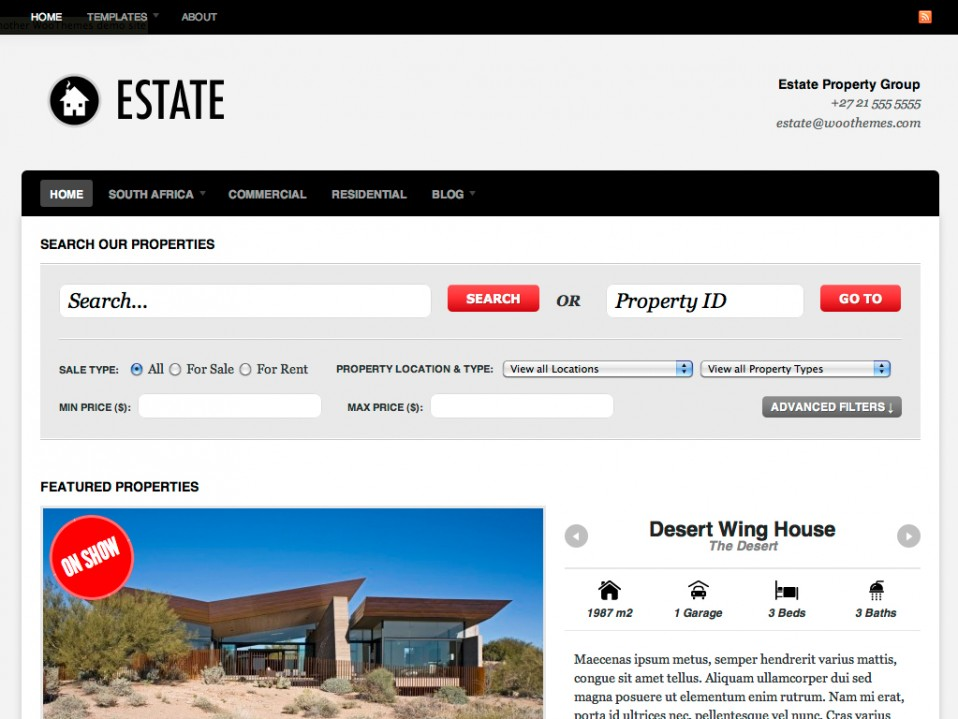 Estate Theme By WooThemes - JustWP