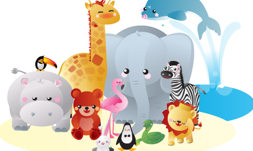 12 free vector kawaii zoo animals by snap2objects