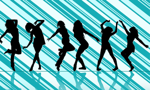 Dancing Girl Silhouettes by 123freevectors