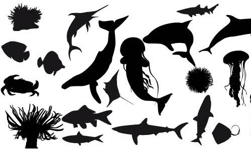Fish silhouettes vector by jessi-juice.blogspot