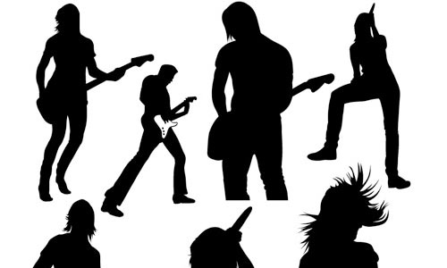 Live Music Vector Silhouettes By spoongraphics