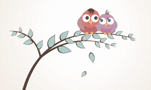 Lovely Birds Vector Graphic by dryicons