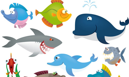 Sea Animals Vector Set BY webdesignhot