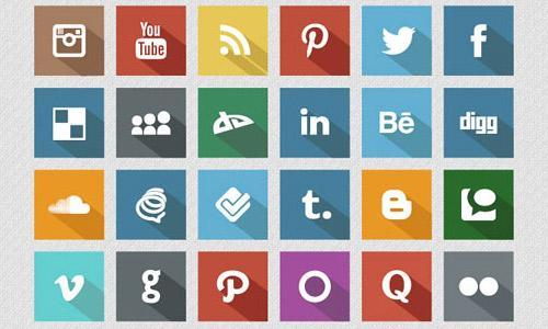 Flat Free Social Media Icons