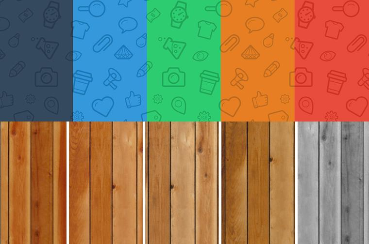 Seamless icons & wood patterns